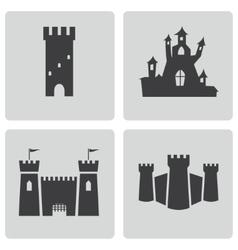 Black castle icons set vector