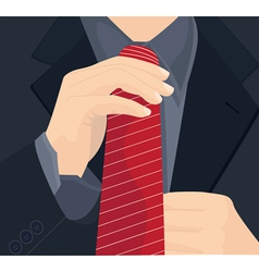 Businessman in a suit straightens his tie vector