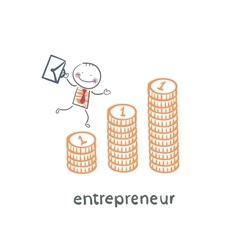 Entrepreneur climbing up the schedule of the coins vector