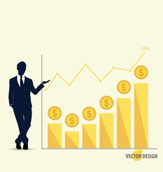 Businessman showing modern design graph business vector