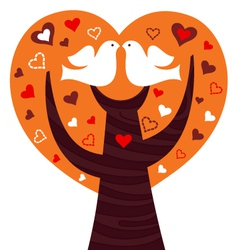 Birds couple in a orange heart tree vector