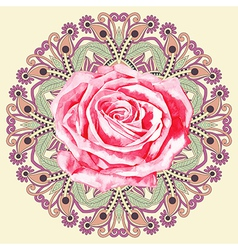 Ornamental circle pattern with watercolor rose vector
