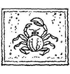 Crab in water vector