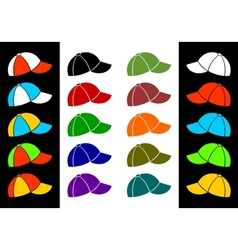Multicolored baseball cap vector