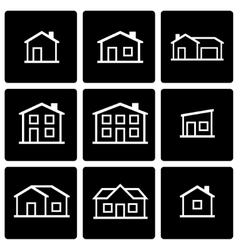 Black house icon set vector