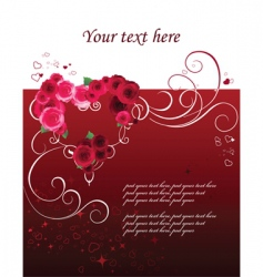 Background with heart and roses vector