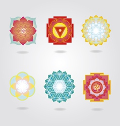 Mini mandalas and yantra set vector