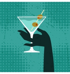 With glass of martini and hand vector