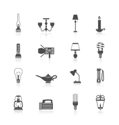 Flashlight and lamps icons black set vector