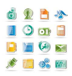 Mobile phone performance and office icons vector