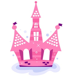 Pink princess sky castle vector