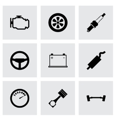 Black car parts icon set vector