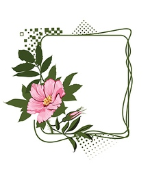 Green frame with the wild pink roses vector