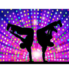 Figure silhouetted in the dance by the light vector
