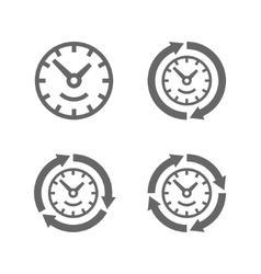 Clocks with arrows as a symbol of run of time vector