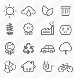Ecology symbol line icon set vector