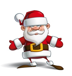 Happy santa open hands vector