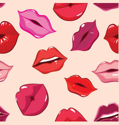 Seamless pattern print of lips vector
