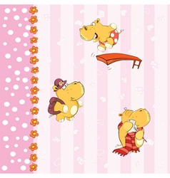 Background with hippos vector