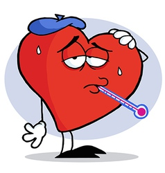 Red heart with a thermometer in his mouth vector