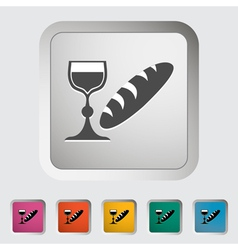 Bread and wine vector