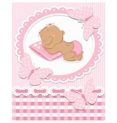Sleeping african baby girl vector