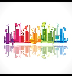 Colorful ecology or renewable energy city vector
