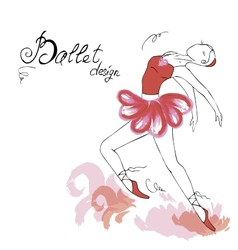 Ballet dancer drawing in watercolor style vector