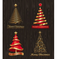 Set - golden decorative christmas trees vector