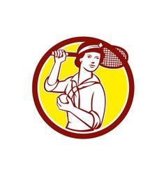 Female tennis player racquet vintage circle retro vector