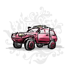 Female pink jeep sketch for your design vector