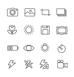 Photography icons on white background vector