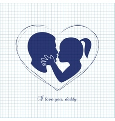 Little girl kissing her dad on fathers day vector