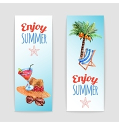 Tropical vacation travel banners set vector