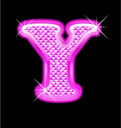 Y letter pink bling girly vector