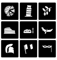 Black italian icon set vector