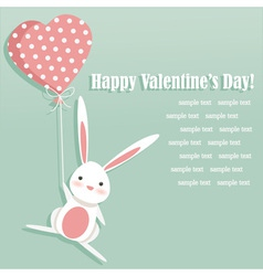 Valentine card with a cute bunny vector
