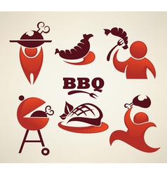 Bbq and outdoor meal symbols vector