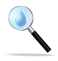 Magnifier enlarges a drop of water vector