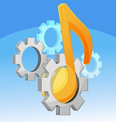 Music note gear fixed vector