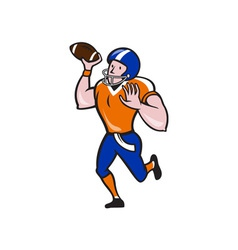 American football quarterback throw ball isolated vector