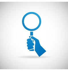 Search symbol hand hold magnifying glass vector