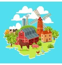 Farm multicolored concept vector