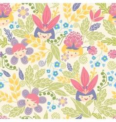 Flower girls seamless pattern background vector
