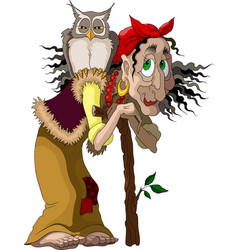 Cheerful cartoon old witch and her friend owl vector