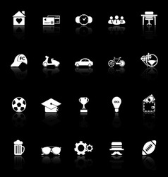 Normal gentleman icons with reflect on black vector