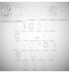 Three dimensional mesh stylish alphabet on white vector