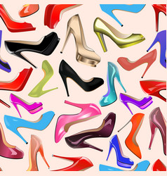 Seamless background of fashionable womens shoes vector