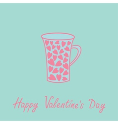 Love mug with hearts love card pink and blue vector