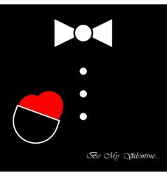 Mens suit with bow tie and heart vector
